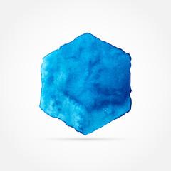 Blue hexagon, watercolor design, vector illustration