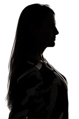 Silhouette of a womanprofile in shadow