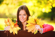 Fall season. Portrait girl woman holding autumnal leaves in park
