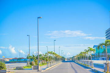 Blue sky, the way of the island