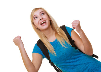 Happy girl female student with bag showing success hand sign