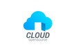 Cloud computing vector logo design template