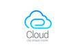 Cloud computing technology data save vector logo design
