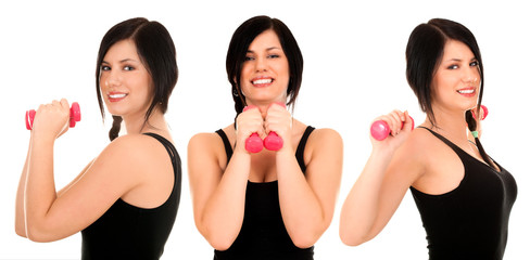 exercising young woman in black shirt with pink fitness weights