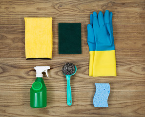 House Cleaning Materials on Age Wood
