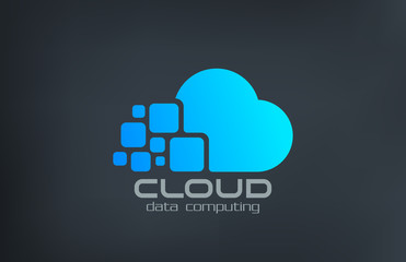 Cloud computing technology vector logo design template