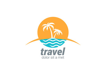 Travel agency vector logo design. Beach, Sea, Horizon
