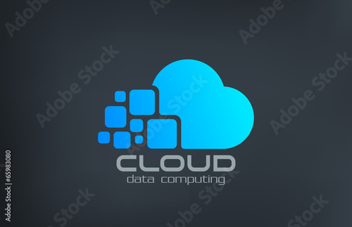 Fototapeta Cloud computing technology vector logo design template