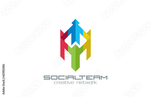 Social Team vector logo design. Internet Community group