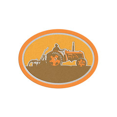 Metallic Farmer Driving Vintage Farm Tractor Oval Retro