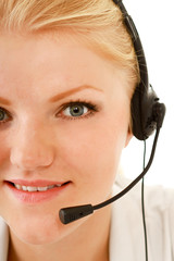 Beautiful business woman with headset. Call center. Customer