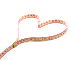 measuring tape shaping a heart