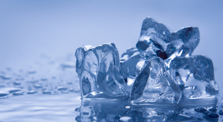 Melting ice on white
