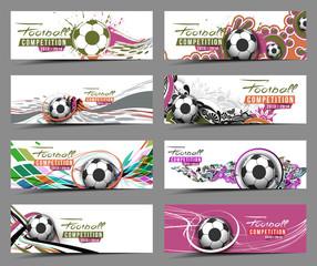 Set of Football Event Banner Header Ad Template Design.