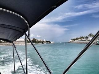 Caribbean sea from inside water boat