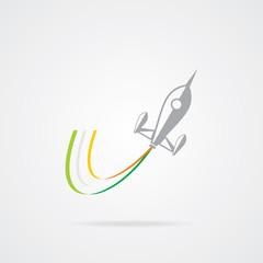 Rocket icon with three colors smoke shades. EPS-10.