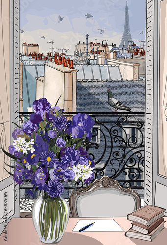 open window on the roofs of Paris - 65985095