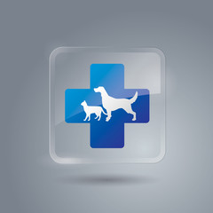 Pet First Aid icon vector. Glass icon.
