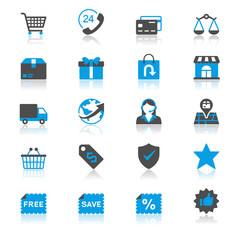 E-commerce flat with reflection icons