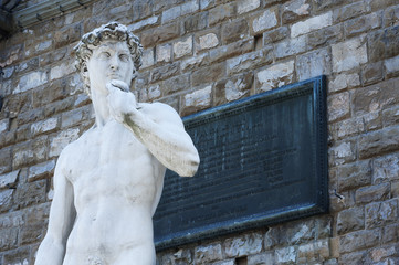 Michelangelo's replica David statue. Florence, Italy