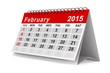 2015 year calendar. February. Isolated 3D image