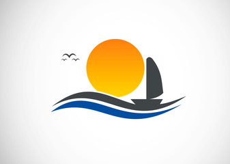 sunset beach boat logo