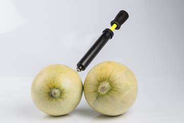 Melons and bicycle pump
