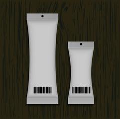 packaging design on wood background , Eps 10