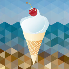 cherry and whipped cream on abstract background beach