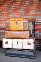 Old luggage on platform scales © Arena Photo UK