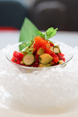 Tuna and avocado tartare on ice