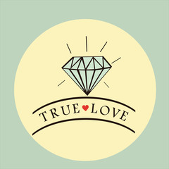 diamond ring background with text true love