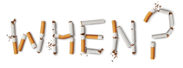 Text ''when?'' made from broken cigarettes