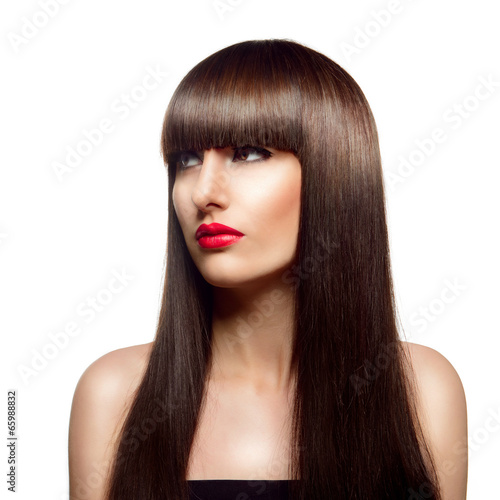 Portrait of beautiful fashion woman with long healthy brown hair