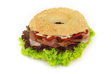 Bagel Burger mit Speck