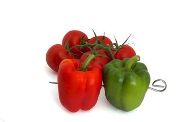 Paprika Spieß und Tomaten