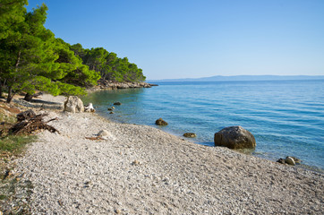 Beautiful beach on Croatian seashore, Makarska