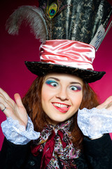 Young woman in the similitude of the Hatter