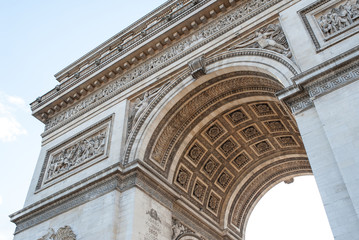 Arch of Triumph detail in Paris, France.