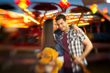 romantic scene in amusement park  - shoot with lensbaby