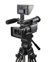 業務用のビデオカメラと三脚とモニター