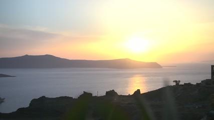 Timelapse caldera sunset santorini