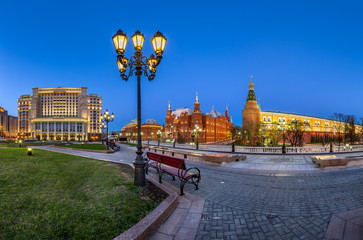 Manege Square and Moscow Kremlin in the Evening, Moscow, Russia
