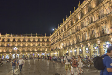 OVIEDO SPAIN, 27 JULY 2013: The young take the Plaza Mayor of Sa