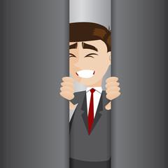 cartoon businessman tried to open elevator door