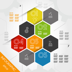 colorful infographic hexagons with axis
