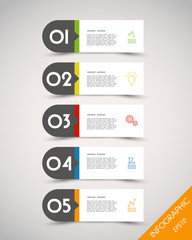 colorful long rounded stickers with arrow