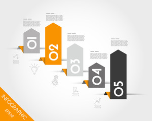 orange infographic standing arrows