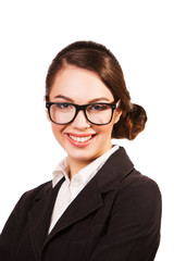 close up portrait of Smiling Business woman with glasses.