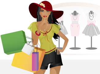 Beautiful girl with shopping